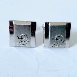 Silver Tone Cufflinks Floral Vintage Square Heavy